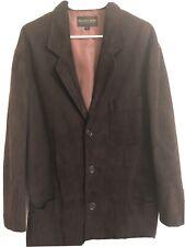 Golden Bear Mens Leather Jacket Large L Brown Suede Patch Pocket Blazer Lined