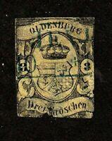 Oldenburg stamp #8, used, imperf, German State, 1859, SCV $600