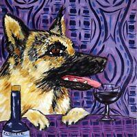german shepherd at the wine bar dog art tile coaster
