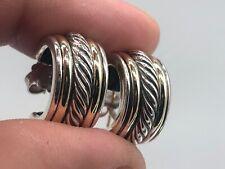 David Yurman Sterling & 14K 10MM Wide Hoop Cable Earrings