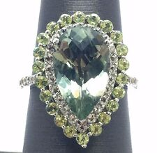 Sterling Silver 925 Pear Green Amethyst CZ Halo Band Pave Cocktail Ring