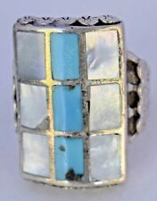 Sterling Silver Southwest Turquoise & Mother of Pearl Inlay Large Chunky Ring