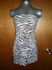BNWT Valleygirl size M animal print black/white strapless lined dress in EC