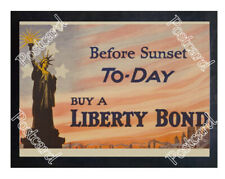 Historic Wwi Recrutiment Poster Before sunset buy a bond Postcard