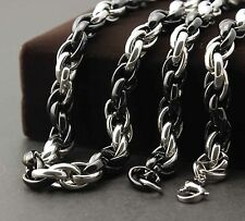"24"" Men's Black and Silver Stainless Steel Biker Heavy Link Chain Necklace L43"