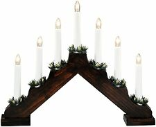 Christmas 40cm X 28cm Static Indoor BROWN Wood CANDLE ARCH / CANDLELIER/ bridge