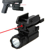 Tactical White LED Flashlight Red Dot Sight Laser Combo Lamp For Outdoor Hunting