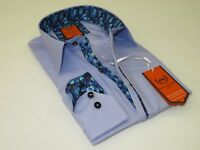 Men RSC Makrom Turkey Cotton Shirt Wrinkle Resistant R3244 Navy Orange Stripes