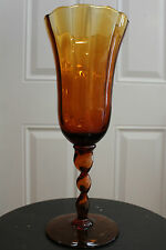 """BEAUTIFUL AMBER PANELLED GLASS  13"""" VASE WITH SWIRLED PEDESTAL"""
