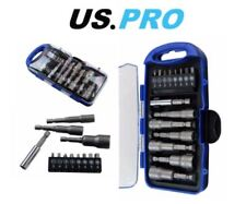 "US PRO 15 Piece Magnetic Nut Driver Socket & Bit Set 1/4"" Hex Drive 1371"