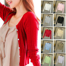 New Women Sweater Cardigan Knitted Slim Waist Round Neck Short Jacket Coat Tops