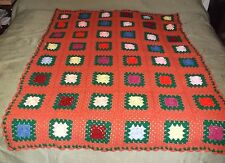"Afghan Done In Crochet Multi-Color Squared Design/Floral Center About 67"""" X 49"""