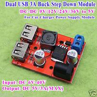 DC-DC 9v 12v 24v 36v to 5v 3A Dual USB Buck Converter Step Down Voltage Module