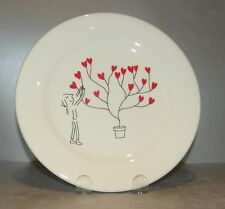 NEW  Dessert Plate Tree with Hearts , Les Amoureux pattern GIEN,  France