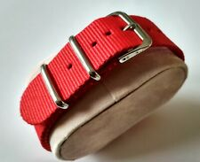 20 mm Nato Strap Correa Reloj Nylon Pulsera Watch band Red Rojo