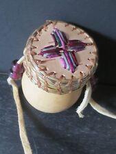 Sm medicine gourd w/green purple quilsl & antique trade beads-P St John, Mohawk