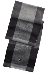 Tommy Hilfiger Men's Buffalo Checkered Plaid Scarf One Size Color Black/Gray New
