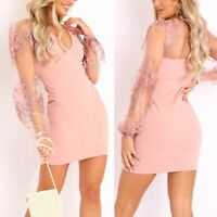 Women's Sexy Slim V Neck Dress Lady Long Sleeve Bodycon Lace Ball Gown Dresses
