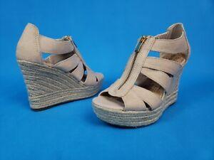Merona Open Toe High Wedge Espadrille ~ Beige  ~ Front Zipper ~Womens Size 6.5