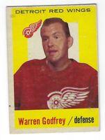 1959-60 Topps NHL Hockey Warren Godfrey Detroit Red Wings Card #27