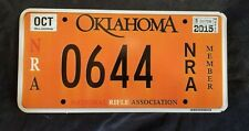 2015 Oklahoma Orange NRA Rifle Special Issue License Plate *HIGH QUALITY* HTF