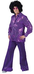 Disco Pants Man Adult Mens Purple Costume 60s 70s Retro Bell Bottoms Halloween