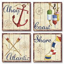 "NEW Set of 4 Bridgeport Vintage Rustic Nautical Coastal Art Poster Prints 12x12"""