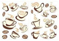 Wandtattoo Kaffeetassen Set Küchen Esszimmer Deko