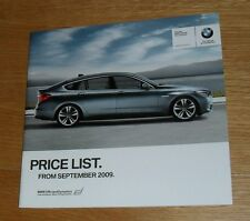 BMW 5 Series Gran Turismo Prices Brochure 2009 - 535i 550i 530d SE / Executive