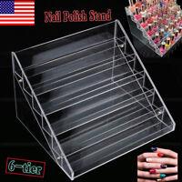 Hot Acrylic 6-tier Nail Polish Display Stand Rack Organizer Holder Storage Clear