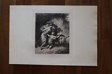 ✒ ca.1900 Jean-François MILLET La Fuite - sur japon, belle gravure
