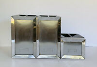 Vintage Mid Century Modern Atomic Chrome Kitchen Canisters Jars Set of 3