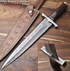 Rare Custom Hand Made Damascus Steel Blade Dagger Hunting Knife | WALNUT WOOD
