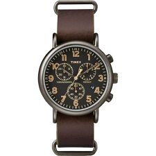 "Timex TW2P85400, ""Weekender"" Brown Leather Strap Watch, Chronograph, TW2P854009J"