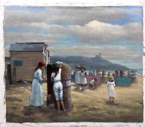 """Hennie De Korte (1941 -  ) oil on Canvas """"Women and Children at the shoreline"""""""