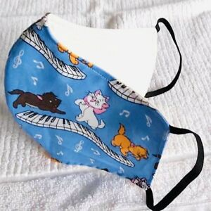 Brand New Quality Denim Reusable Washable Face Mask SewnIn Filter The Aristocats