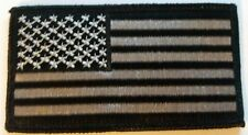 """US FLAG Patch Black and Silver  3.5"""" x 2"""" Brand New!!"""