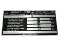 Mercedes Benz Chassis Data Plate For Mercedes 170 220 300 Models AUD