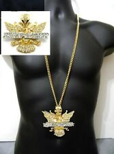 "Gold Dipset Eagle Bird Wings Hip Hop Pendant Miami Long Cuban Chain 36"" Iced Out"