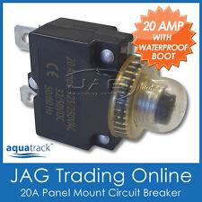 1x 12V~24V 20A PANEL MOUNT CIRCUIT BREAKER 20 AMP & WATERPROOF BOOT-Boat/Caravan