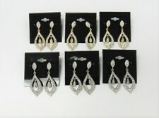 Wholesale Jewelry Lot 12 Pairs Rhinestone Crystal Dangle Drop Earrings Assorted
