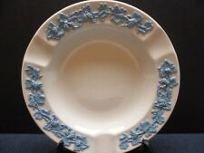 Wedgwood Ashtray Queens Ware Large Blue on White Embossed With Grapevine 5 3/4