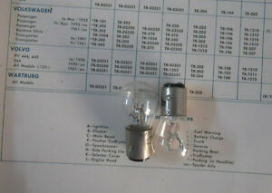 Pair of Trifa 6V Bulbs: Stop Light & Turn Signal. Porsche 356A, Volvo 544 --->