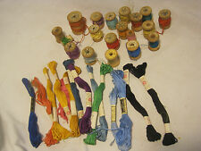 Vintage wooden spool wood thread lot J & P. Coats ACE threads mixed skeins