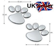x1 Pair  SILVER CUTE DOG / PUPPY 3D PAW PRINT Car Emblem Decal Badge Sticker Art