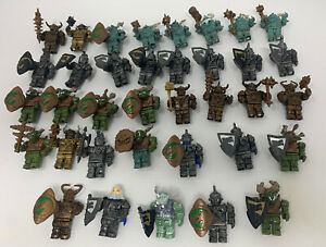 Mega Blok Lot of 32 Krystal Wars Mini Figures Orcs Shields Weapons Dragons
