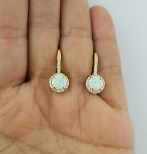 14K Yellow Gold Over White Opal Sapphire Drop Dangle Leverback Earrings
