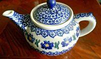 Blue Floral Polish Teapot - Artistic Ceramics 32 oz. Made in Poland