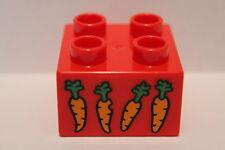 LEGO DUPLO 10594 Baustein 4er Motivstein rot Möhren / Karotten 2x2 Noppen NEU