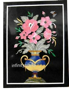 12 x 18 Inches Black Marble End Table Top Royal Flower Pot Design Coffee Table